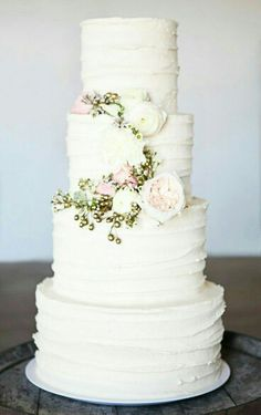 White cake with flowers. Gorgeous!
