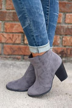 Staying Grounded Suede Booties - Grey