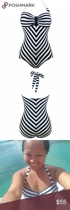 """Modest Pin Up Barbie Chevron Swim This looks just like Barbie's swimsuit from the original doll in the 60s. Very cute retro swimsuit, modest and full coverage but totally flattering and feminine, while being comfy. You feel all """"held in"""" in this suit and free to swim and play.  Halter top, light padding. Black and white chevron design. I personally recommend sizing up. I have lots of sizes and other cute swim styles, just let me know what you're looking for!  Free shipping. Brand new…"""