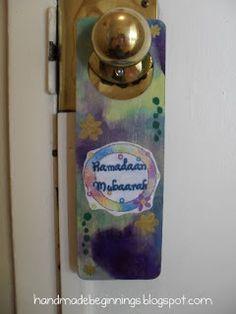 handmade beginnings: Ramadan Door Hanger Ramadan Prayer, Door Hangers, Eid, Islam, Prayers, Handmade, Gifts, Hand Made, Presents