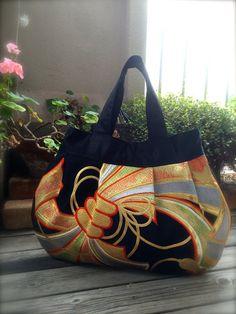 OBi / Kimono / Bag / BK786 Gorgeous Pattern Pleated Tote Bag Round Type
