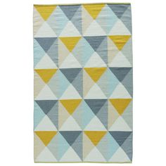 Jaipur Youth Geometric Pattern Yellow/ Blue Wool and Cotton Area Rug (2' x 3') (2'x3'), Size 2' x 3'