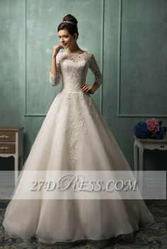 Elegant 3/4 Sleeve Lace Appliques Wedding Dresses Chapel Train Bridal Gowns with Bottons - Products - 27DRESS.COM