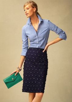 navy and white stripe with dot embellished navy skirt, emerald clutch, I might do a yellow clutch