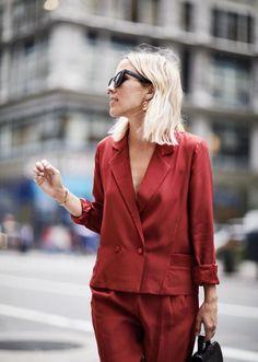 Damsel in Dior powersuit in NYC