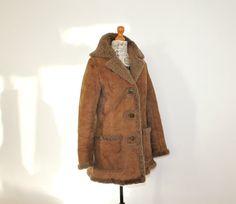 Sheepskin coat  Women Suede Shearling coat middle by StylishAgain