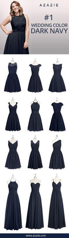 Azazie Dark Navy Swatch (in 6 fabrics) Blue, chiffon, mesh, lace, tulle, satin Bridesmaid dress, Wedding, Wedding gown