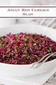 This fresh, healthy and delicious Asian Red Cabbage Slaw will take the boring out of everyday meals and entertaining menus. #asianslaw #healthyrecipes #bestslawrecipe Cabbage Slaw, Red Cabbage, Grilled Veggies, Roasted Vegetables, Vegan Side Dishes, Side Dish Recipes, Easy Asian Recipes, Healthy Recipes, Healthy Foods