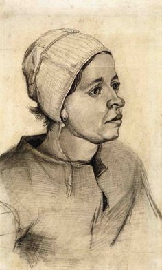 1885  Vincent Van Gogh   Peasant Woman  Graphite and Chalk  53.6x20.9 cm  Amsterdam, Van Gogh Museum