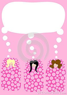 (C) Celia Ascenso - Pyjama party invitation card with polka dots sleeping bags and dream balloons.
