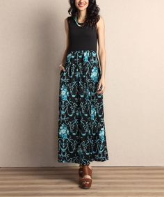 Look at this #zulilyfind! Black Floral Tank Maxi Dress by Reborn Collection #zulilyfinds