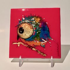 """Alcohol Ink Owl #2, Watercolor Of Baby Owl, Whimsical Colorful Alcohol Ink Art Of Owl, Mixed Media of Woodland Owl, 4""""x4"""" by YakiArtist by YakiArtist on Etsy"""