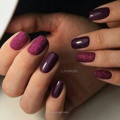 Beautiful new year's nail, Dark purple nails, Evening nails, Fall nails idea…