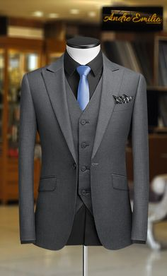 Suits - Grey 3 Pcs Suit with VShape 5 Button Waistcoat mensuit menswear mensfashion AndreEmilio dezynish menstyle men mensuits suit gentleman mensclothing mensuitstyle menwithstyle style Mens Casual Suits, Dress Suits For Men, Grey Suit Men, Formal Suits, Black Suits, Gents Fashion, Mens Fashion Suits, Gents Suits, Groom Suits