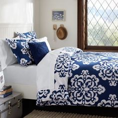 Shop ikat medallion duvet cover sham from Pottery Barn Teen. Our teen furniture, decor and accessories collections feature fun and stylish ikat medallion duvet cover sham. Create a unique and cool teen or dorm room. Dorm Room Bedding, Dorm Rooms, Bedding Sets, Blue Duvet, Navy Bedding, Navy Blue Comforter Sets, Floral Bedding, Duvet Bedding, Sweet Home