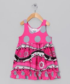 Take a look at this Hot Pink & Gray Babydoll Dress - Infant, Toddler & Girls by Corky's Kids on #zulily today!