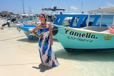 Isla Mujeres in a strapless maxi dress
