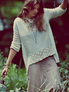 Free People Crochet Patched Pullover
