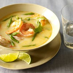 THAI COCONUT SHRIMP SOUP - Never tried Thai cooking? This mildly spicy shrimp dish will turn you into a huge fan. It's low in calories and can be made in just 25 minutes. Asian Recipes, Paleo Recipes, Soup Recipes, Cooking Recipes, Thai Cooking, Coconut Curry Soup, Thai Coconut, Coconut Shrimp, Coconut Milk