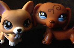Littlest Pet Shop #639 #640 Welsh Corgi & Dachshund Fanciest Pet Pairs Set Dog