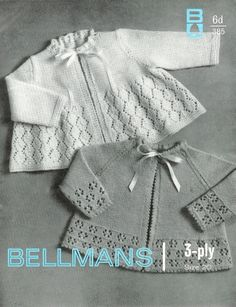 """Baby Matinee Jackets / Sweaters 2 styles for  Size 20""""  in 3ply yarn - Bellmans 385 - PDF of a Vintage Knitting patter - Instant Download"""