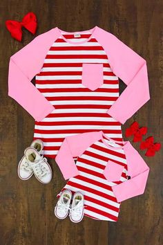Shop cute kids clothes and accessories at Sparkle In Pink! With our variety of kids dresses, mommy + me clothes, and complete kids outfits, your child is going to love Sparkle In Pink! Father And Son Clothing, Mother Daughter Shirts, Mommy And Me Outfits, Cute Outfits For Kids, Toddler Outfits, Valentines For Daughter, Valentines Outfits, S Girls, Matching Outfits