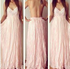 Sexy Pink Lace V-Neck Backless Long Dress