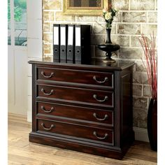 Furniture of America Grantworth Dark Cherry File Cabinet (Dark Cherry), Brown, Size Legal 2 Drawer File Cabinet, Wood File, Important Documents, Office Furniture Stores, Dresser As Nightstand, Simple Lines, Wood Construction, Solid Wood, Drawers
