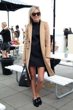 Pin for Later: Over 50 Must-See Street Snaps From Sydney Fashion Week Street Style at Sydney Fashion Week Is there anything more classic than a camel coat? She scored even more style points with her black shift, loafers, and tortoiseshell frames.