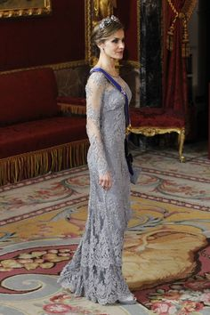 Queen Letizia's Felipe Varela gown features thousands of tiny crystals.