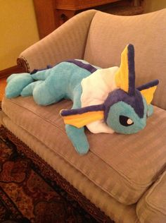 This is my second baby from the eevee family, Vaporeon. She's quite the charmer, very soft and adorable. I used the same pattern (for the body) as I did for her big brother Espeon, which I got from...