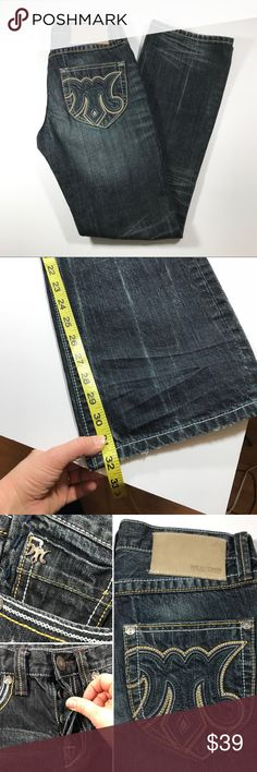 Men's MEK Denim Jeans Western Boot Slim 30 MEK Denim Book Slim Cut Classic Jeans for him. Perfectly distressed allover with fading and whiskering. See photos for approx dimensions and details. Excellent used condition. MEK Jeans Bootcut