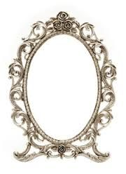Gloss white skull oval picture frame mirror shabby by for Better homes and gardens baroque wall mirror black