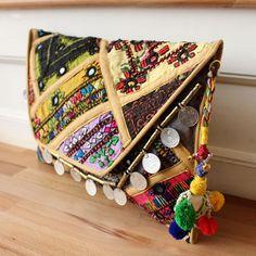 RISHIKESH by NAWERI 119€ Boho clutch made from antique embroidered fabrics with a removable strap. Pochette confectionnée à partir de tissus brodés antiques. Chaîne amovible. Modèle unique.