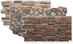 Fake stone paneling creates the look of rugged river rock in realistic colors that work for almost every room