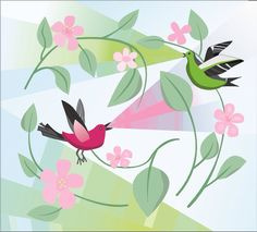 Spring season made in Corel Draw. First attempt to draw in Corel.