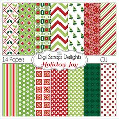 Christmas Papers Holiday Joy Red and Green by DigiScrapDelights   #Red #Green #Scrapbook #Christmas #Digital #DIY