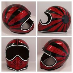 Badass helmet from Chemical Candy Custom Motorcycle Helmets, Custom Helmets, Motorcycle Gear, Custom Motorcycles, Custom Bobber, Vintage Helmet, Vintage Racing, Pinstriping, Racing Baby