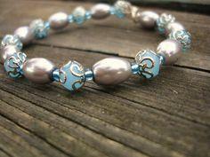 Blue bracelet with gray pearls on memory wire   firesky - Jewelry on ArtFire