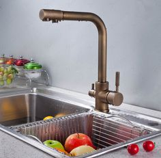 FREE SHIPPING!Classic brushed bronze  dual handle 3 Way kitchen sink mixer faucet 2 outlet drinking water tap 1pcs/lot