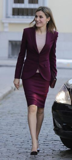 Queen Letizia attends a meeting with the BBVA Foundation. She wore her classic Hugo Boss aubergine skirt suit, a look she has worn on a number of occasions since she first wore it for a trip to New York in September 2014. 30.03.2016