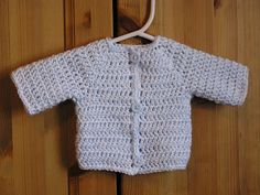 The simpliest (and cutest) baby sweater.  I use bigger hooks for different sizes.