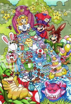 Mario Tea Party Art Print