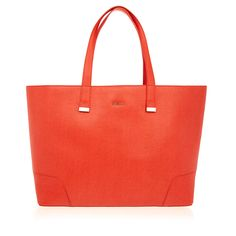 Stacy Coral Red Large Saffiano Leather Tote Bag