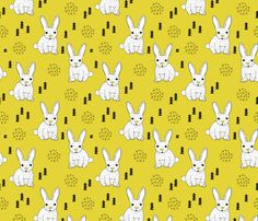 Adorable geometric rabbit baby easter spring bunny for kids scandinavian woodland theme in mustard fabric by littlesmilemakers on Spoonflower - custom fabric