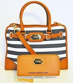 Michael Kors Hamilton Large EW Navy & White Striped Purse Tote Bag & Wallet NWT #MichaelKors #ShoulderBagToteCrossBodyBag