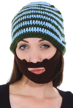 Unisex Crochet Ski/Snowboarding Beanie Hat w/ Beard Wind Guard