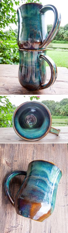 The Forest Green collection  This handmade stoneware mug is perfect for everyday use. The beautiful variations of brown and green colors in the glaze are inspired by the forest.  - Holds approximately 14 ounces - White stoneware - Food safe - Microwave safe - Dishwasher safe  https://www.etsy.com/listing/465415851/forest-green-handmade-coffee-pottery-mug