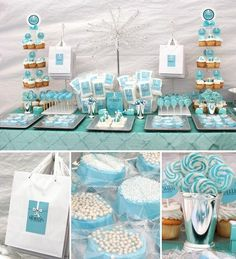 Tiffany blue baby shower...I know it's not a birthday party idea but I think it's a cute idea for a boy baby shower Baby Shower Themes, Baby Shower Sweets, Baby Boy Shower, Shower Ideas, Baby Elephant, 14th Birthday, Birthday Parties, Candy Buffet Bags, Mesa Dulces Baby Shower