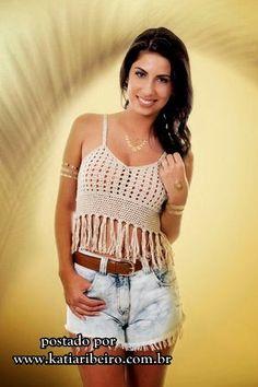 Katia Ribeiro Moda & Decoração Handmade: Top cropped com gráfico e receita